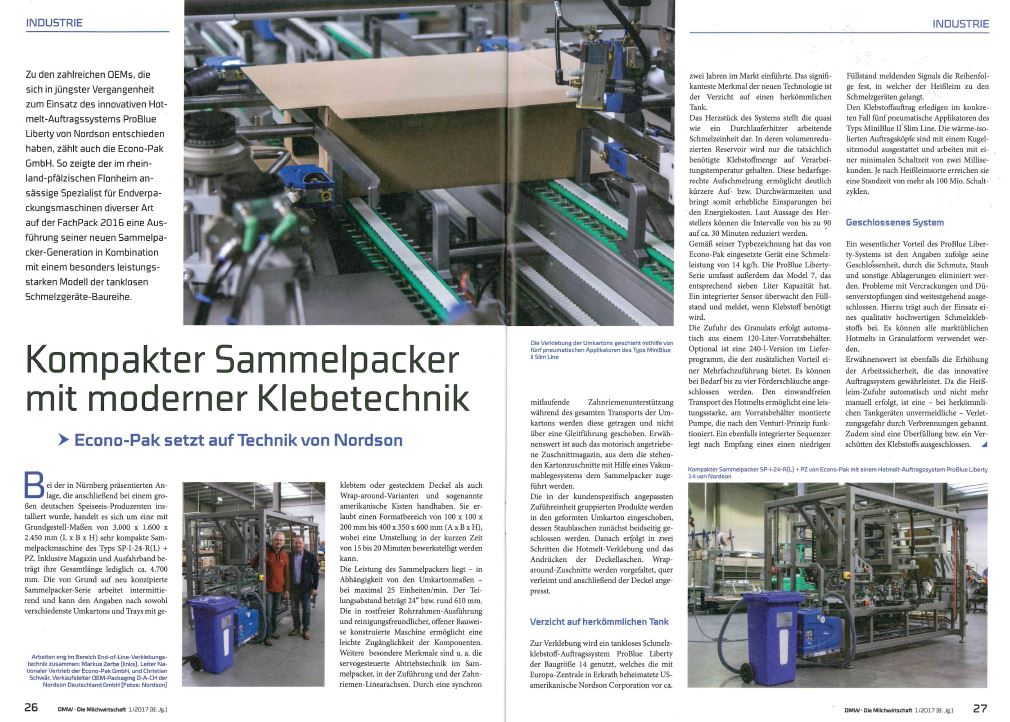 Compact casepacker with modern adhesive technology